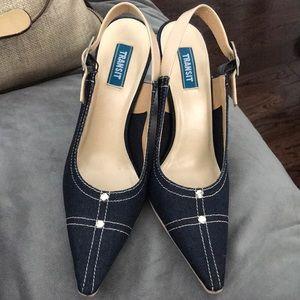 Denim sling back heel Size 38 1/2
